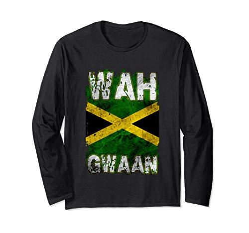Jamaika-Hemd Wah Gwaan Rasta Cool Distressed Jamaican Flag Langarmshirt