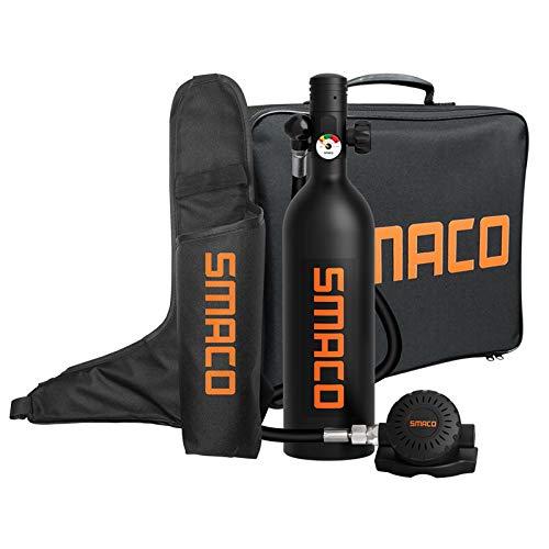 SMACO Botella de Buceo Equipo de Respiración Subacuática Botella de Oxígeno de Buceo 1L Soporta 15-20 Mins de Respiración Bajo el Agua(No más de 30m) Una Nueva Generación de Cilindros de Buceo, Negro