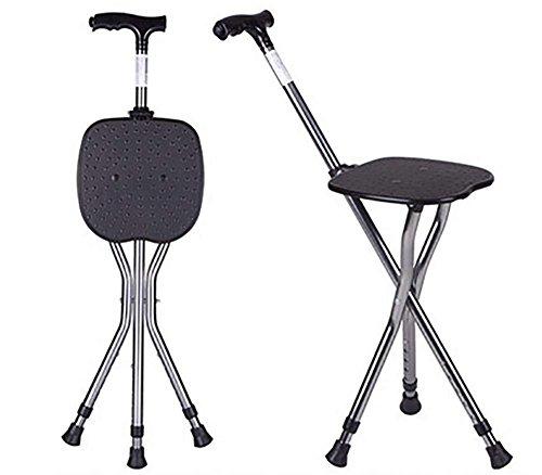 Bastón con asiento plegable,muleta taburete trípode asiento Stick- con luces plegable caminar ayuda Cane silla, black