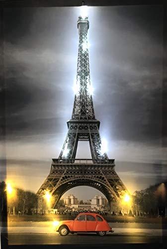 Samarkand-Lights LED-Bild mit Beleuchtung LED- Bilder Leinwandbild 65 x 45 cm Leuchtbild Paris - Eifelturm Wandbild