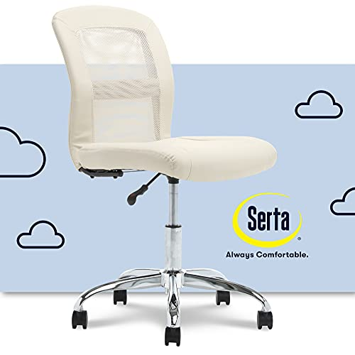 Serta Essential Mesh Low-Back Computer Desk Task Chair with No Arms for Home Office or Conference Room, Faux Leather, Cream