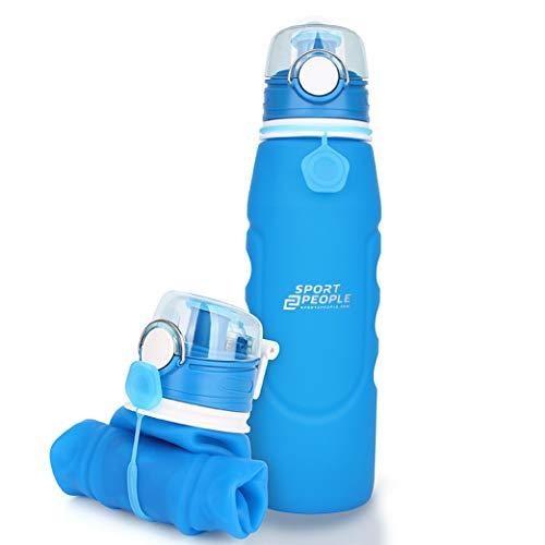sport2people Botella de Agua Plegable de Silicona de 1 L, Calidad médica,...