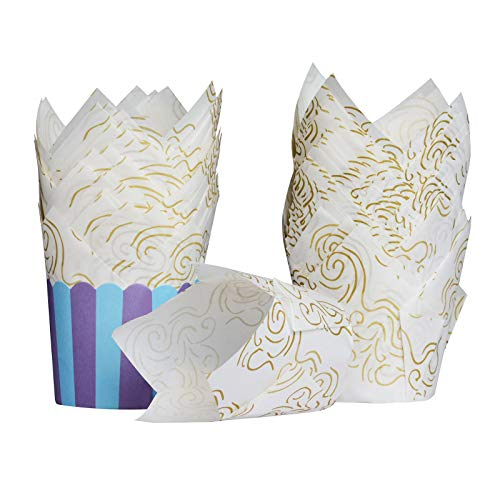 ITME 50 pcs Cupcakes de Tulipanes Moldes para Muffins Estándar para Hornear, Forrados a Prueba de Grasa y Antiadherentes, Taza para Tartas para Bodas / Cumpleaños / Hogar / Cafetería--Blanco