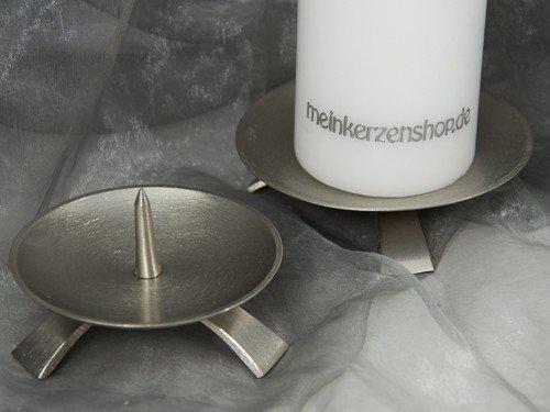 Kerzenteller Kerzenständer Kerzenhalter Hochzeitskerze Taufkerze silber 16726, Größe:11.5 cm