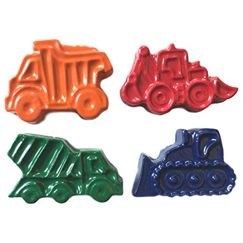 MinifigFans 48 Construction Vehicle Crayons - Birthday Party Favors - 12 Sets of 4 Crayons - Made in The USA