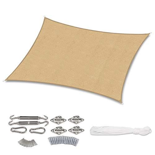 Sekey Sonnensegel Sonnenschutz Rechteck HDPE Windschutz Durchlässig Atmungsaktiv Tear Resistant Wetterschutz, für Outdoor Garten Terrasse, mit Seilen und Edelstahl-Montagesatz, 2×3m Sand
