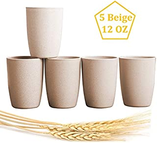 Choary Eco-friendly Unbreakable Reusable Drinking Cup for Adult (12 OZ), Wheat Straw Biodegradable Healthy Tumbler Set 5, Dishwasher Safe (Beige)