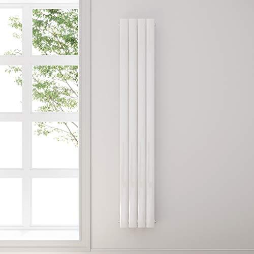 Design Flach Heizkörper 1800x308mm Weiß Paneelheizkörper Vertikal Mittelanschluss Einlagig