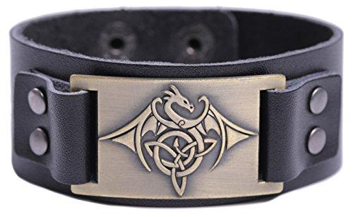 Lemegeton Pulsera de piel con nudo triquetra de dragón vikingo, estilo gótico punk retro