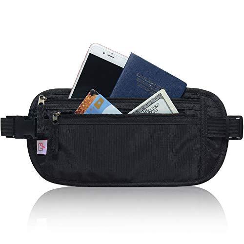 RFID Blocking Travel Wallet - Money Belt & Passport Holder for Women Men - Black