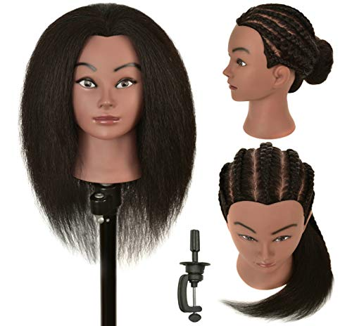 RIHANNAHAIR Natural Real Afro 100% Human Hair Mannequin Head Hairdresser Hairstylist Practice Braiding Coiling Styling Curling Display Cosmetology with Stand
