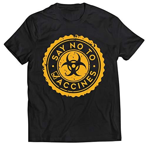 lepni.me Camisetas Hombre Di no a Las Vacunas Lema de Seguridad contra la Vacunación Obligatoria (XL Negro Multicolor)