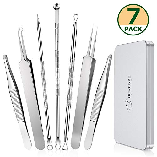 BESTOPE Blackhead Remover Eyebrow Tweezers Set 7PCs Comedone Extractor Pimple Spot Popper Eyebrow Splinter Ingrown Hair Removal Tool