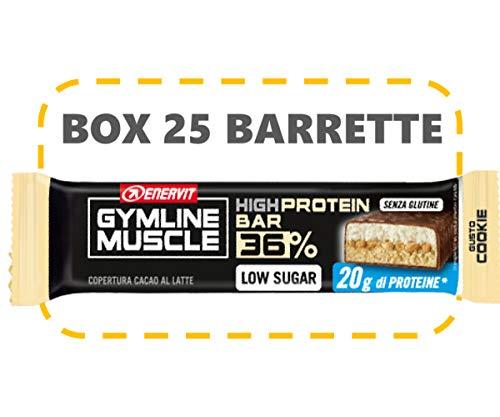 Enervit Gymline Muscle 36% High Protein Bar Confezione 25 Barrette da 55g (Cookie (copertura cioccolato al latte))