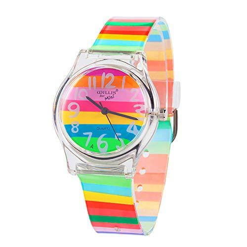 Reloj de pulsera para niños, niñas y adolescentes, con diseño de rayas de arcoíris, otoño 2017