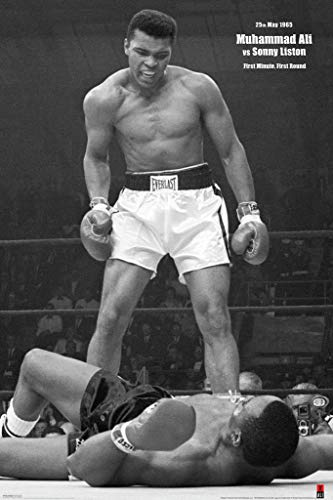 Pyramid America Muhammad Ali vs Liston First Minute First Round Knockout 1965 Famous Boxing Match Photo Cool Wall Decor Art Print Poster 24x36