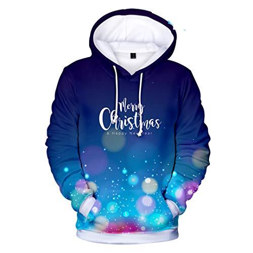 NHFVIRE Frohe Weihnachten Hoodies beiläufige 3D-Sweatshirt Happy Christmas-Party Trendy Männer/Frauen-Herbst-Winter Polluvers Dark Grey S