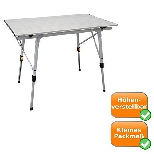 Impermeable de Aluminio plegable mesa, altura regulable 45 – 69 cm ...