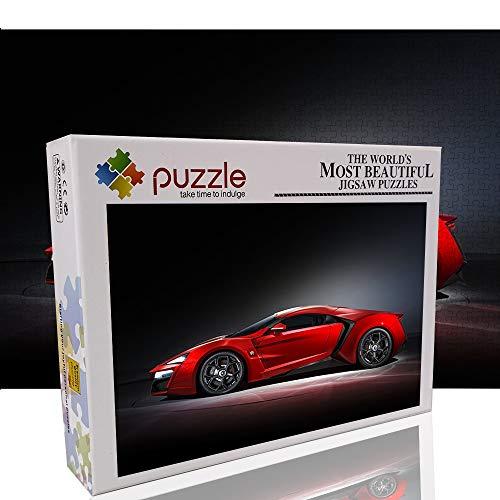 Super Running Lykan Puzzle Grande 1000 Piezas para Adultos Rojo clásico Coche Deportivo Jigsaw Toys Rompecabezas de 1000 Piezas para Mejorar la Capacidad de Pensamiento lógico de los jóvenes 70x50cm