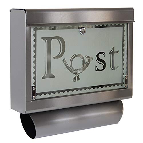 HELO \'M1\' Edelstahl Briefkasten mit Zeitungsfach, großem Einwurf und Glasfront aus satiniertem Sicherheitsglas, Postkasten abschließbar inkl. 2 Schlüsseln - Motiv: Posthorn