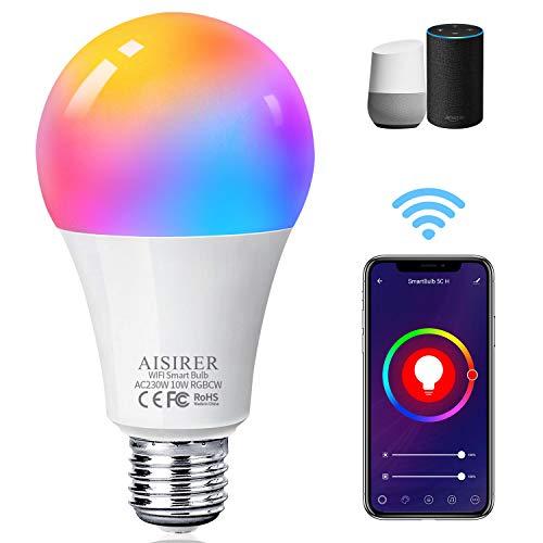 Alexa Glühbirnen E27 Smart LED-Lampe, 10W 1000LM AISIRER WLAN Mehrfarbige Dimmbare Birne, App Steuern Kompatibel mit Alexa Echo, Google Home, kein Hub benötigt, Warmweiß/Kaltesweiß licht, 1er Pack