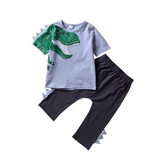 Juego de Ropa de Verano para niños Camisetas con Estampado de Dinosaurios de Dibujos Animados Camiseta de Manga Corta y Pantalones Cortos con Cuello Redondo Conjunto de Traje