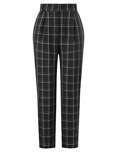 Women's Plaid Elastic Waist Elastic Back Office Work Ankle Pants Black S