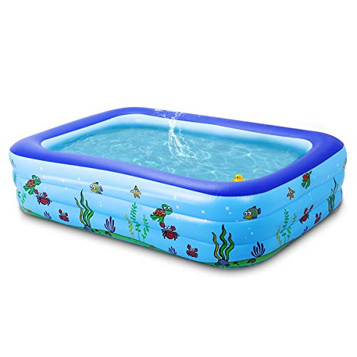 Lovinouse Large 103 x 69 x 24 Inch Inflatable Swimming Pool, Family Swim Center for Kids, Adults, Toddlers, Babies, Outdoor Garden Yard Use (103 x 69 x 24 Inch)