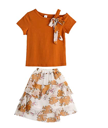 little dragon pig Girl Matching Christmas Outfit Size 6 Size 7 Cold Shoulder Brown+Chiffon Lace Skirt