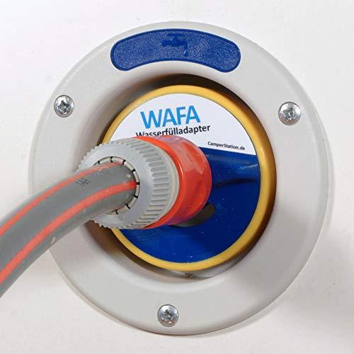 WAFA W3A - Adaptador de tanque de agua de 3 pines para conexión de manguera Gardena a caravana (78 mm de diámetro)