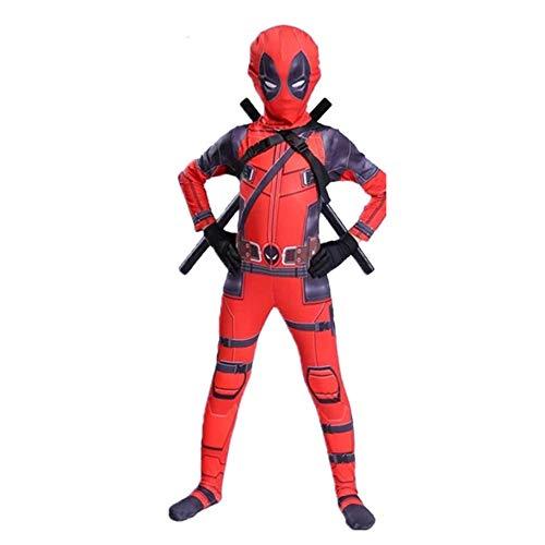 BLOIBFS Deadpool Rollenspiel Kostüm,Sport Overall Schulgala Bühne Leistung Verbunden Strumpfhosen,Children-M