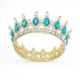 Fairyu Vintage Crowns and Tiaras Baorque Gold BrideCrystal Wedding Crowns Royal Birthday Crowns Costume Headband Tiara for Women and Girls (Gold&Light Blue)