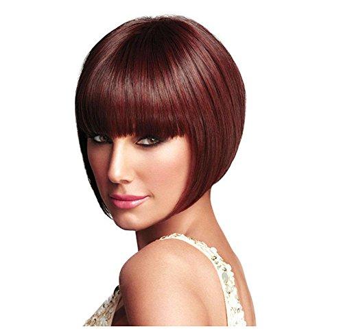 Meylee Perruques La mode Bobo court tout droit perruque vin rouge/brun perruque avec Bang Neat , wine red