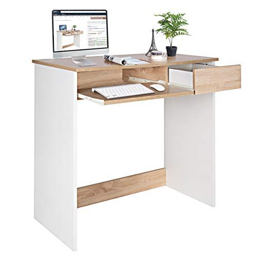 Coavas Scrittoio per Computer, Scrittoio in Legno con cassettiera e Vassoio per Tastiera Tavolo per PC per Adulti e Bambini, 80 x 45 x 75 cm Faggio e Bianco