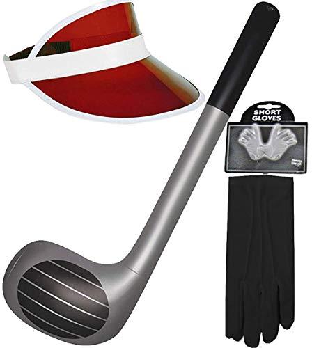 MA ONLINE Aufblasbarer Golfschläger mit Visier, Mütze, Handschuhe, Requisiten, Themenparty, schickes Zubehör (roter Hut H09963, schwarzer Handschuh WD2167BK, aufblasbarer Stick X99049)
