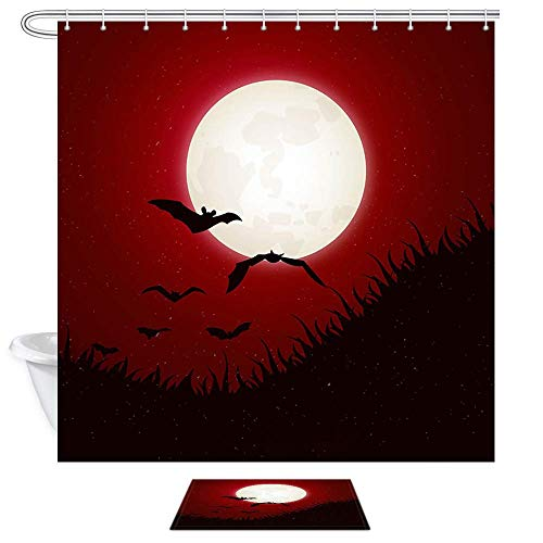 Aliyz Halloween Bat Duschvorhänge Gothic Red Forest Moon Furchterregende Tiere Fledermäuse Polyester Bad Vorhang Kinder Badezimmer Dekor Sets Duschvorhänge & Teppiche 71X71in