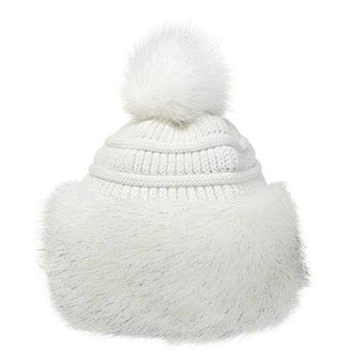 Soul Young Cappello di Vera Pelliccia di Volpe per Donna Russo Russian Pompom(Taglia Unica,Bianco)