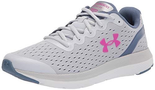 Under Armour Grade School Charged Impulse Running Shoe, Halo Gray (104)/White, 6 US Unisex Big Kid