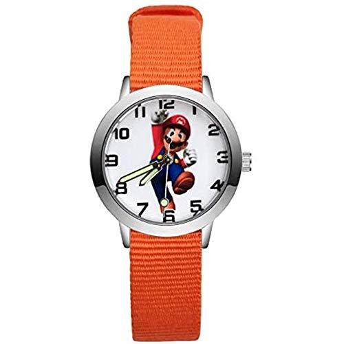 buyaoku Reloj electrónico de Super Mario con Dibujos Animados de Moda, Lindo Reloj de Estilo Mario, Estudiante, niña, niño, Cuarzo, Correa de Nylon, Reloj
