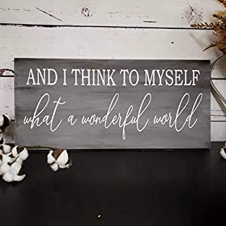 uniquepig and I Think to Myself What A Wonderful World Sign/Wood Sign/Babyshower Gift/Farmhouse Sign/Nursery Decor/Kids Room Wall Art