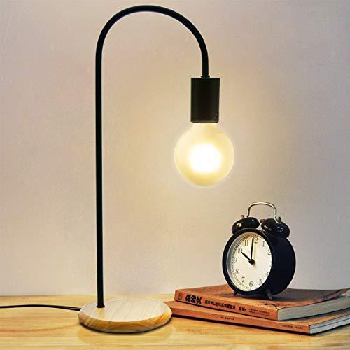 BarcelonaLED Lámpara de mesa Curva Moderna Nórdica de madera y metal negra, casquillo E27 para bombilla LED Edison, mesita de noche, cabecera, dormitorio, escritorio, lectura