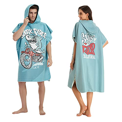 OSEPE Changing Robe Towel Poncho with Hood Short Sleeve for Adult Communal Shower One Size Shark Rider