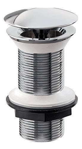 'aquaSu® Design Schaftventil LUXUS 100 mm, verlängertes Waschbeckenventil, Ablaufventil für Waschtische ohne Überlauf, Chrom 1 ¼ Zoll - 22692 9