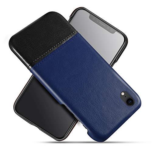 Oihxse Funda compatible para iPhone XR, moda original con costuras de colores de piel sintética antigolpes + carcasa de plástico rígida, clásica de dos colores retro