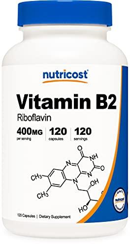 Nutricost Vitamin B2 (Riboflavin) 400 mg, 120 Kapseln – glutenfrei, gentechnikfrei