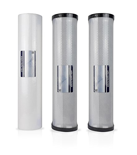 Replacement cartridges for 3-Stage Whole House 20-Inch Big Blue Water Filtration System Includes Sediment and Carbon Block Filters – Removes chlorine, Odor and more - RF-3021