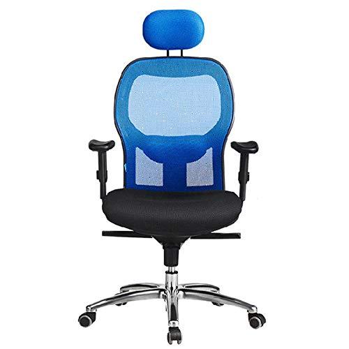 WSDSX Ergonomischer Schreibtischstuhl,Drehstuhl hat Verstellbarer Lordosenstütze, Kopfstütze und Armlehne, Höhenverstellung und Wippfunktion