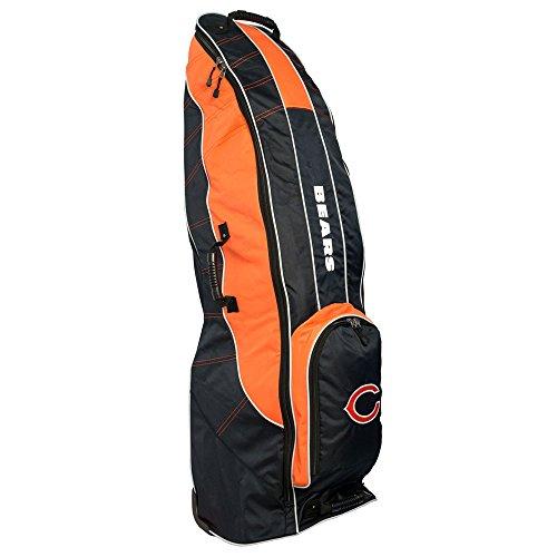 Team Golf NFL Chicago Bears Travel Golf Bag, High-Impact Plastic Wheelbase, Smooth & Quite Transport, Includes Built-in Shoe Bag, Internal Padding, & ID Card Holder