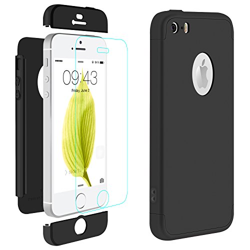 iPhone 5 Cover Nero , ivencase Custodia iPhone 5S / iPhone SE Case Premio Ibrido Rugged 3 in 1 Duro...