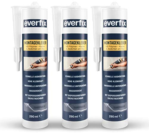 EVERFIX Montagekleber transparent (3 Stück) für innen und außen, extra starker Kraftkleber für Metall, Holz, Fliesen, etc, Baukleber zum Kleben und Abdichten, 325 g / 290 ml